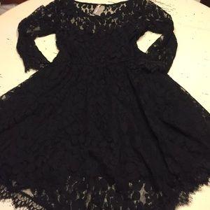 Free people lace dress black size 0